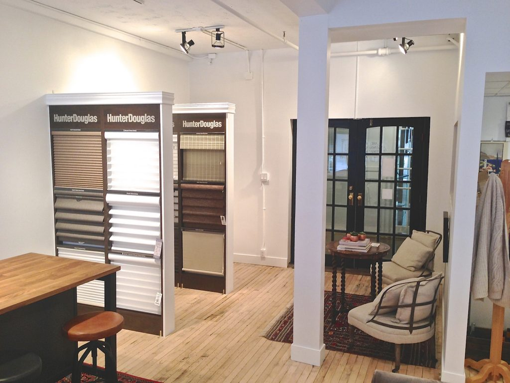 Entrance with Hunter Douglas blind samples